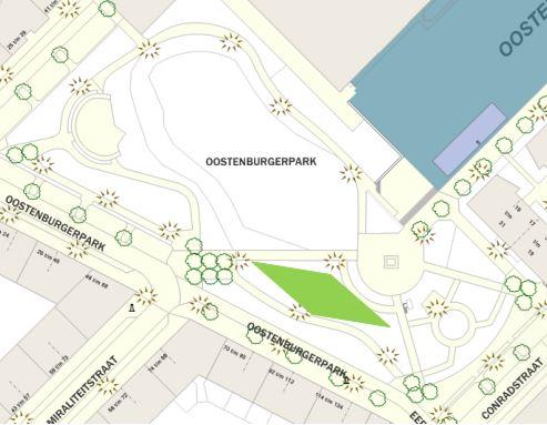 Geplande locatie fitnesstoestellen Oostenburgerpark