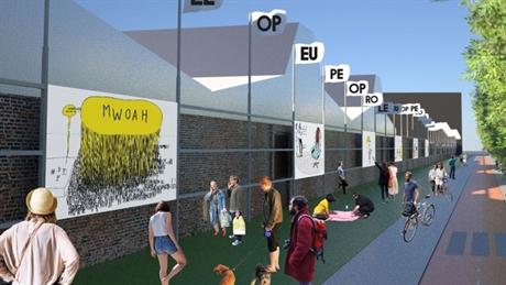 Artist Impression The Wall, kunstproject langs de Kattenburgerstraat