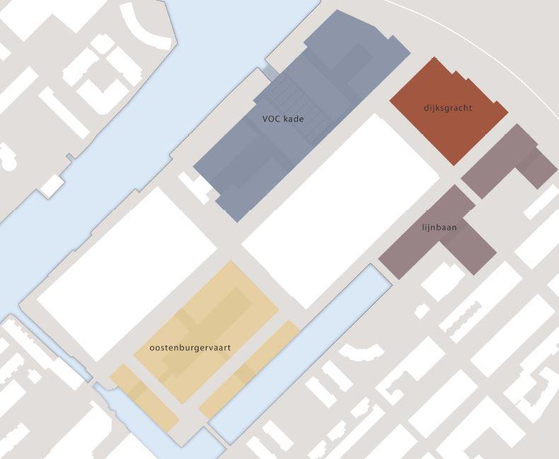 Uitwerking in vier deelgebieden: VOC-kade, Dijksgracht, Lijnbaan en Oostenburgervaart