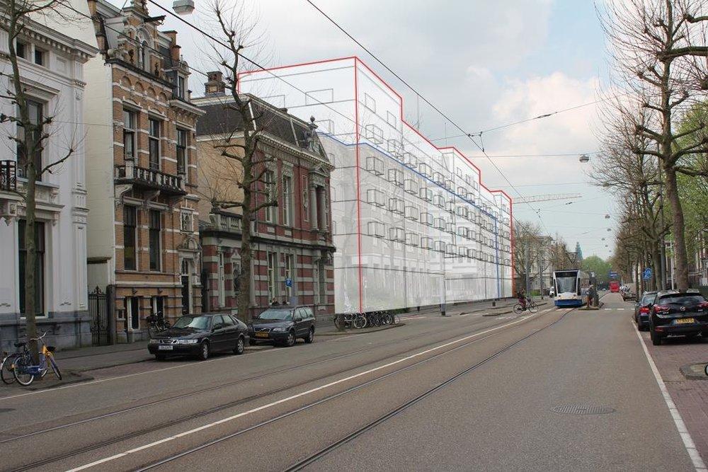 Het nieuwe bouwvolume ten opzichte van het huidige gebouw Sint Jacob
