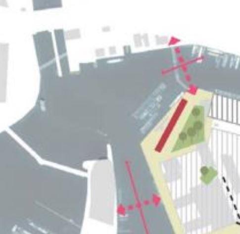 Midden onder in rood de geplande nieuwe brug Nemo-Marineterrein die versneld aangelegd zou moeten worden