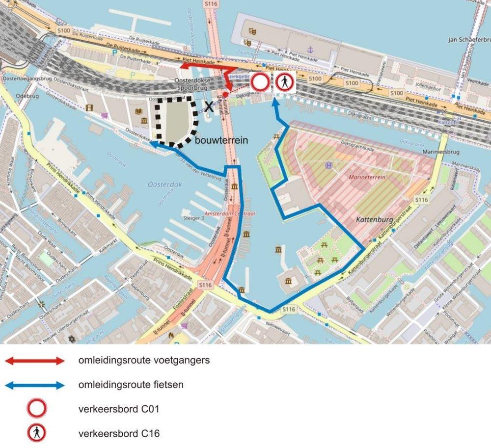 Omleidingsroutes i.v.m. 2,5 jaar afsluiting Oosterdoksdraaibrug.