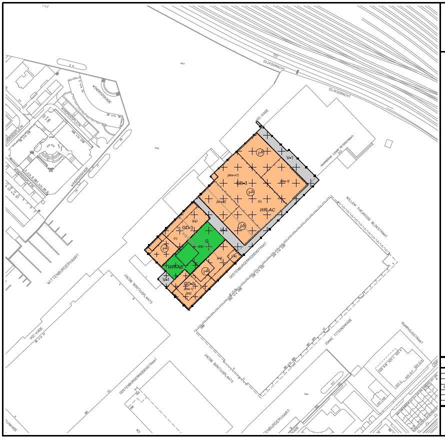 Uitwerkingsplan VOC-kade, plankaart. De torens komen in de rechteronder en -bovenhoek en naast de Werkspoorhal aan de VOC-kade. Roest en het hotel vallen erbuiten.