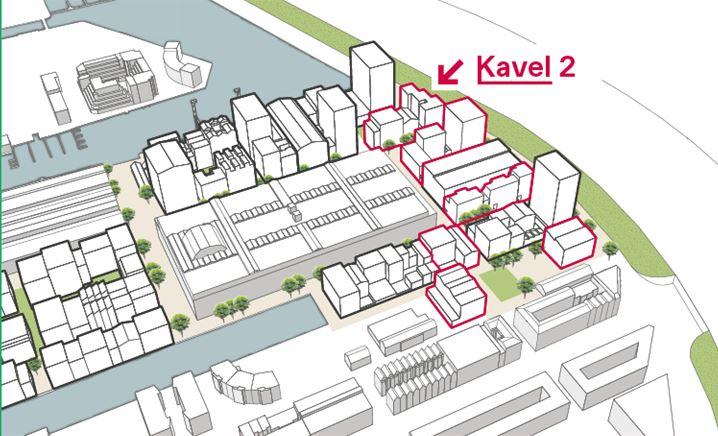 Kavel; 2 met tegen het spoor het hoge deel met 100 starterswoningen en links het deel met 54 middeldure huurwoningen. De hoge toren daarachter is een hotel met 300 kamers.