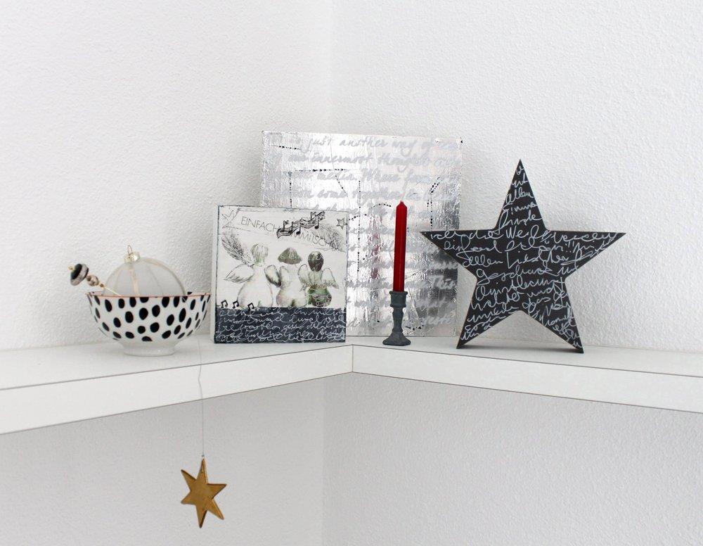 Schale Interio, Hutnadel vom Brockenhaus, Christbaumkugel Interio, Holzstern grau bemalt und beschriftet, Bilder aus meinem Atelier