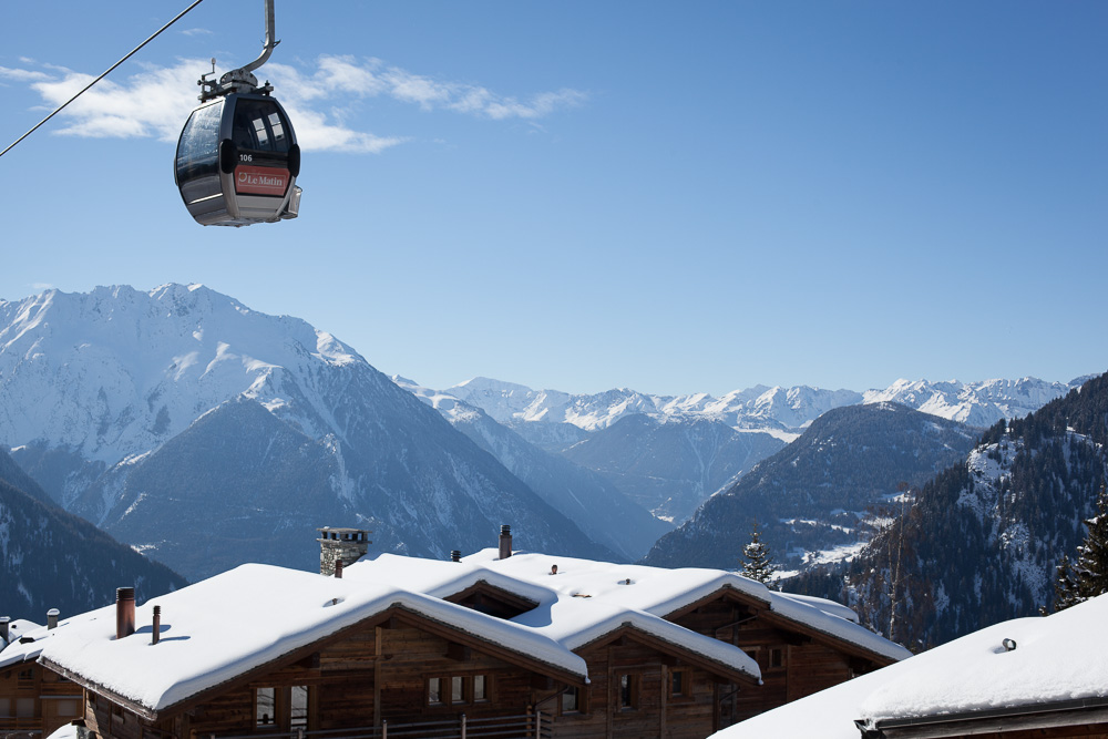 snow and mountains in Verbier, Switzerland