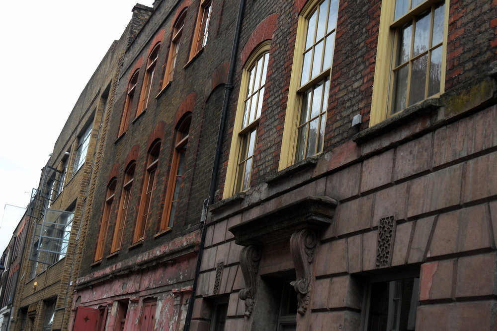 Buildings in historic Whitechapel, London UK, where the Ripper murders took place in 1888.