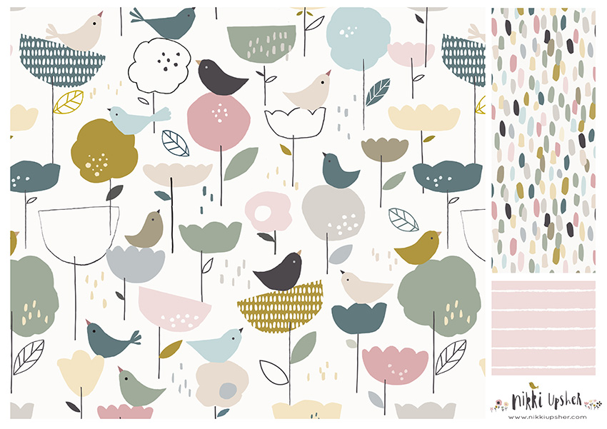 nikki upsher designbirds floral pattern repeat