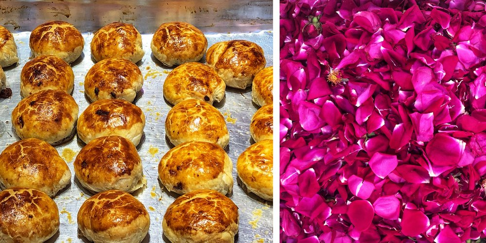 The famous local rose petal pastries. Real rose petals with sugar packed into a pastry pie. Surprisingly delicious. Yes, made with actual rose petals.