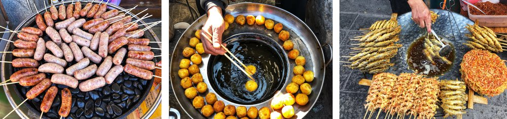 A variety of fried food is on offer. This is a small sampling.