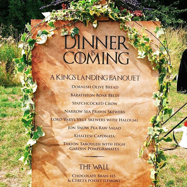 Check out this Game of Thrones Sharing Menu we created for @motherlondon yesterday. En Brochette's food surprisingly suited the medieval banquet theme! 🍢💐🍗🌸 Such a fun day! #motheriscoming