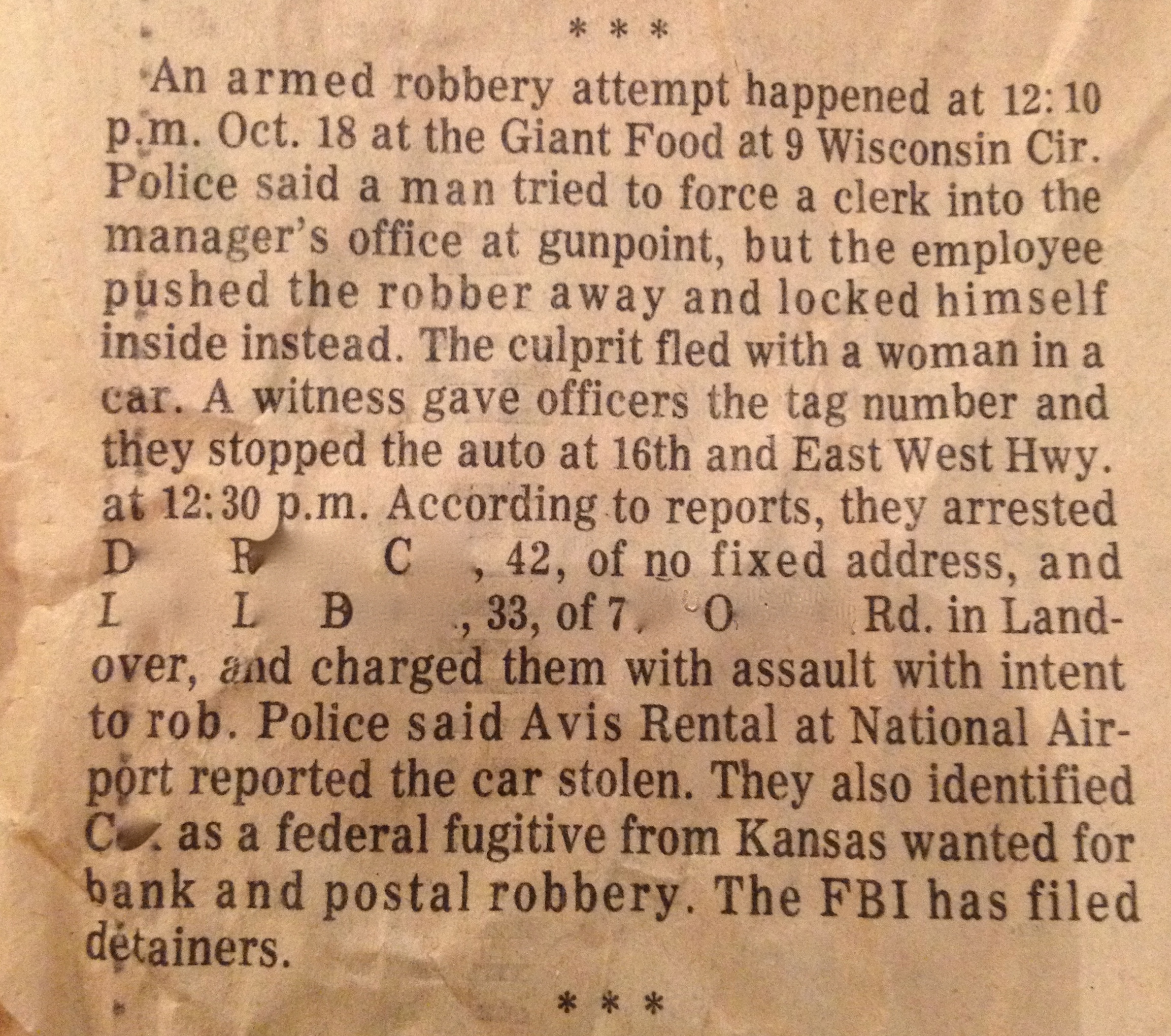 Crime report in paper.  Saturday, October 18, 2012