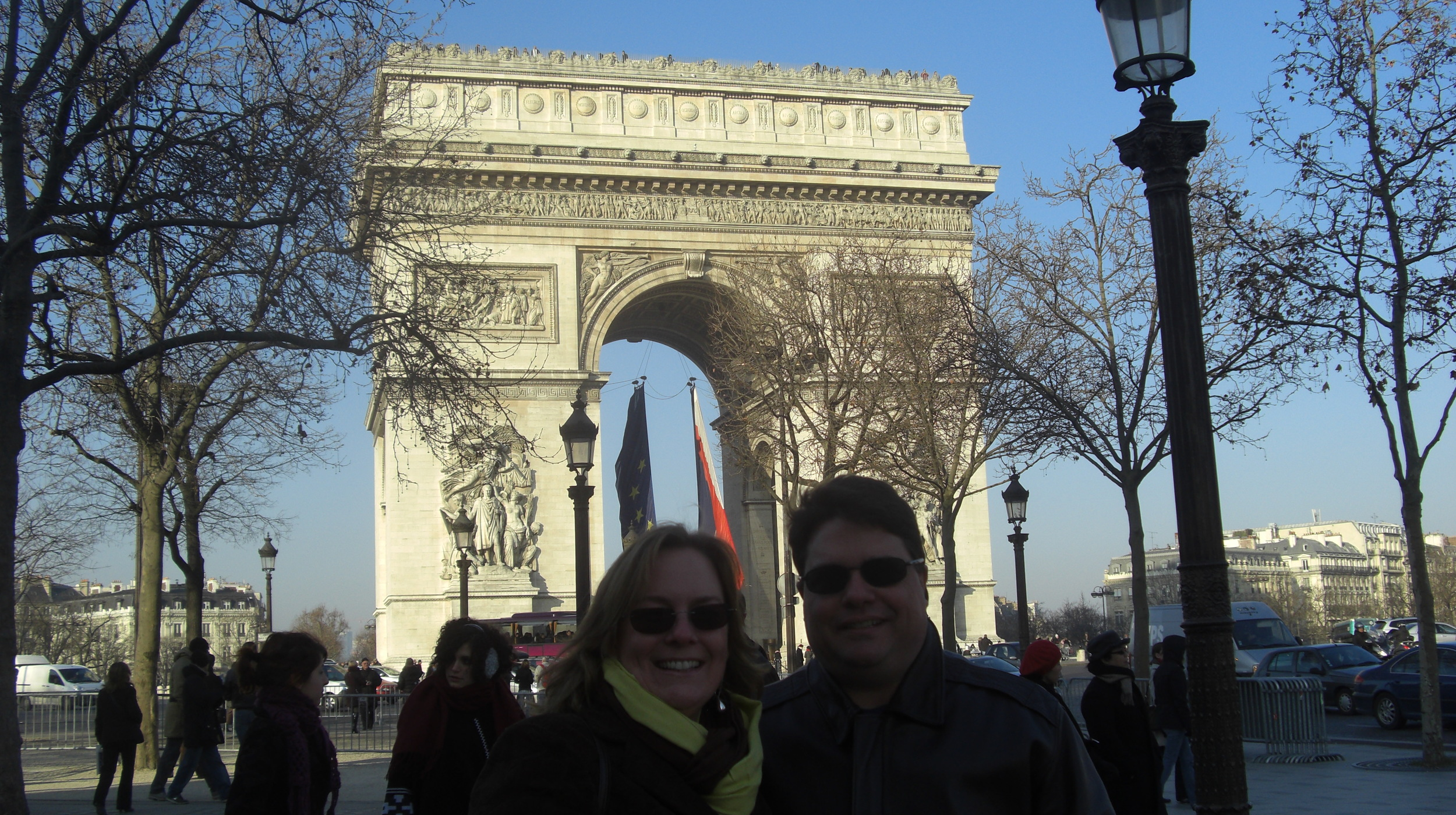 Visiting the Arc de Triumph, Paris, France.