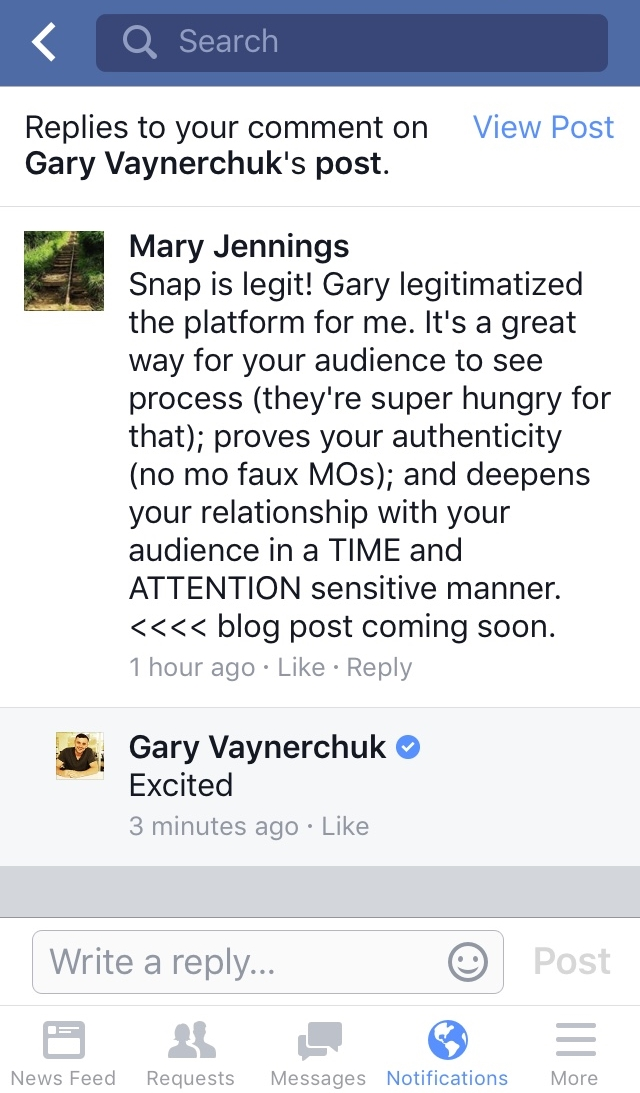 This is a comment I made on a video posted on Facebook about the Snapchat platform, that Gary responded to with one word. In the comment, I made a statement about this new social platform and a commitment to creating a blog post. Just a small testament to being in community with people who challenge you, encourage you and hold you accountable (with one word) is good for business and humanity. I have a passion for both.
