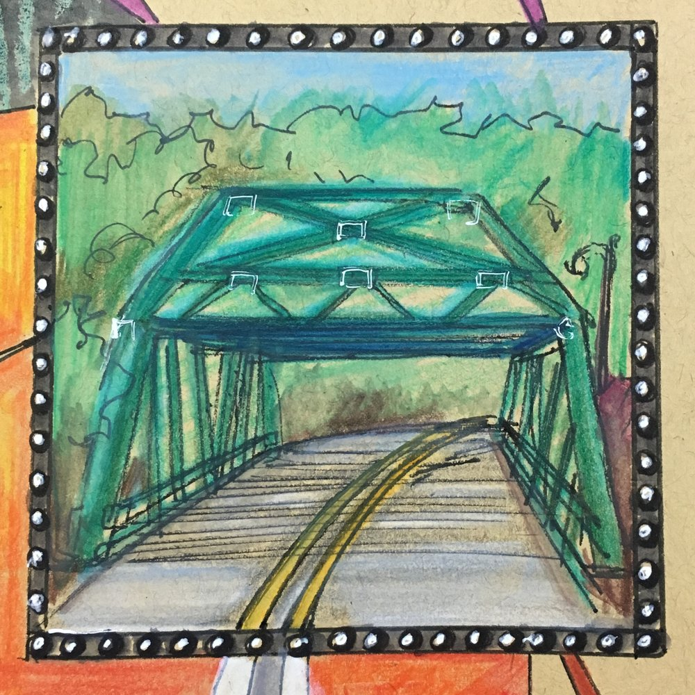 Bridge:  On this sketchbook project, we see a very recognizable landmark in Capon Springs, WV; the Capon Bridge. Without a bridge, you struggle to access the other side. Making note of this portion in any journey is important. The structure of a bridge should be one to call itself to your attention. It should be a time when you are making a conscious decision to pass over something that is difficult to pass. It's a landmark and should be considered carefully.