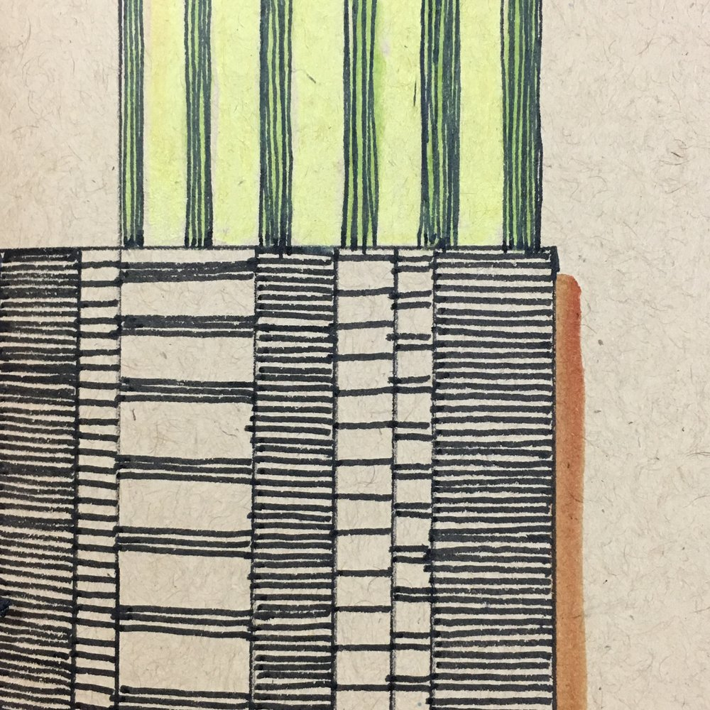 Rhythm:  On this sketchbook cover, an illustration is used to represent the patterns of sound, unexpected and pleasing how they come together to make a cohesive structure. The harmony of light and dark, complex and simple, similar and opposite, rigid and organic come together and settle into a perfect peace.