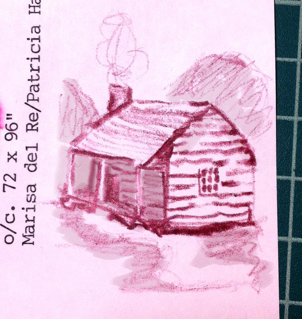 A drawing I made (on an old library catalog card-my favorite note taking supply) of a cabin when conceptualizing this pattern.