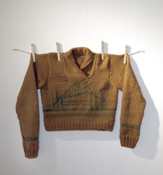 This was the first sweater (any maybe 4th object) I ever knit. I taught myself stranded colorwork and went to town plotting out a modernist house on graph paper (do you see a common theme here?). One sleeve is, indeed, longer than the other. The project took me 1.5 years from start to finish.