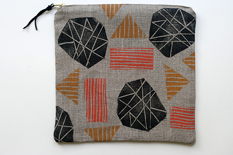 Three-color block printed linen bag. Part of Jen Hewitt's 2014 52 Weeks of Printmaking project.