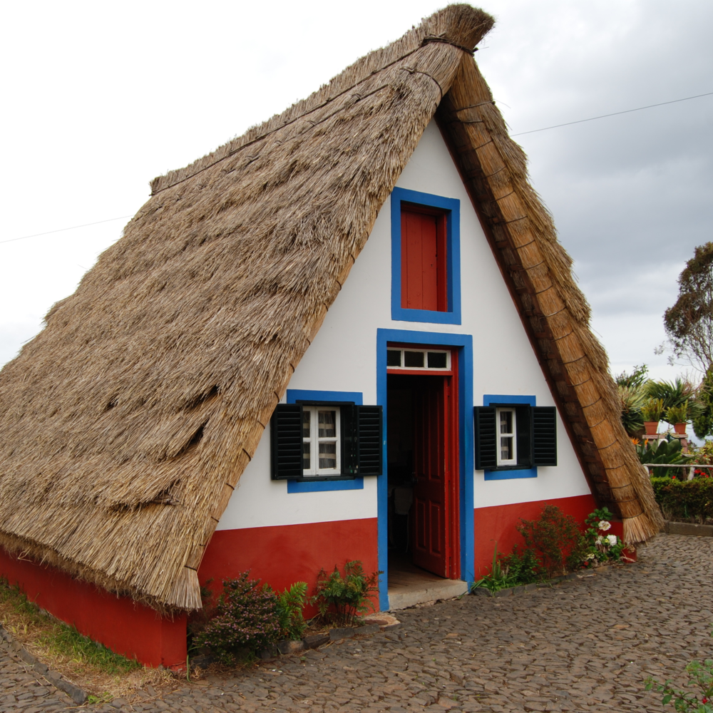 A traditional thatched a-frame in Portugal