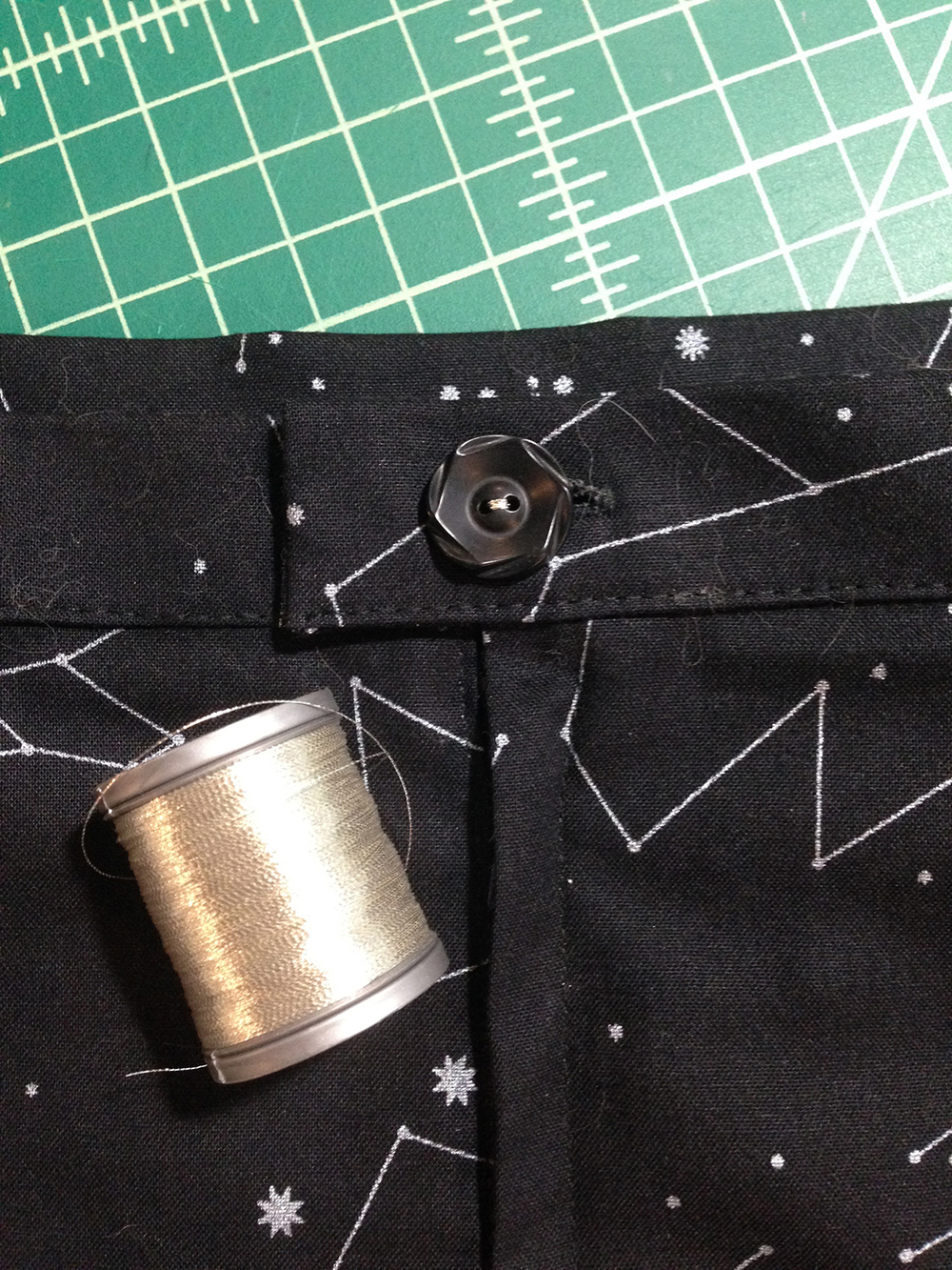 I used silver thread to sew on the waistline button, just for fun. I thought about embroidering some of the constellations too, but that seemed like overkill.