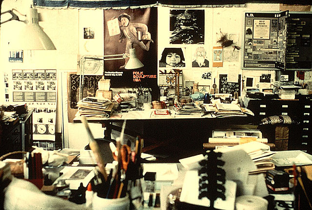 I think artists inherantly collect and clutter (but also organize!) This photograph of the studio of Ray Eames is a great example.