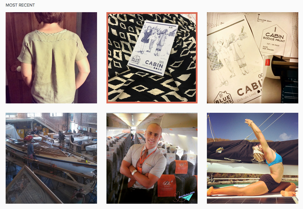 Two rows of the tag #Cabintop on Instagram   1st row: Grace of  Beyond Measure 's lovely Cabin and a few in-process shots of Cabin projects.  2nd row: A boat, a flight attendant, and a lady doing yoga?