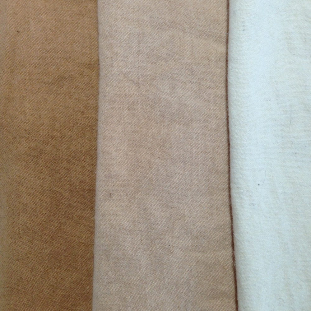 Left to right: Wool simmered in dye for a few hours, wool cold dyed for 2 days, undyed wool.