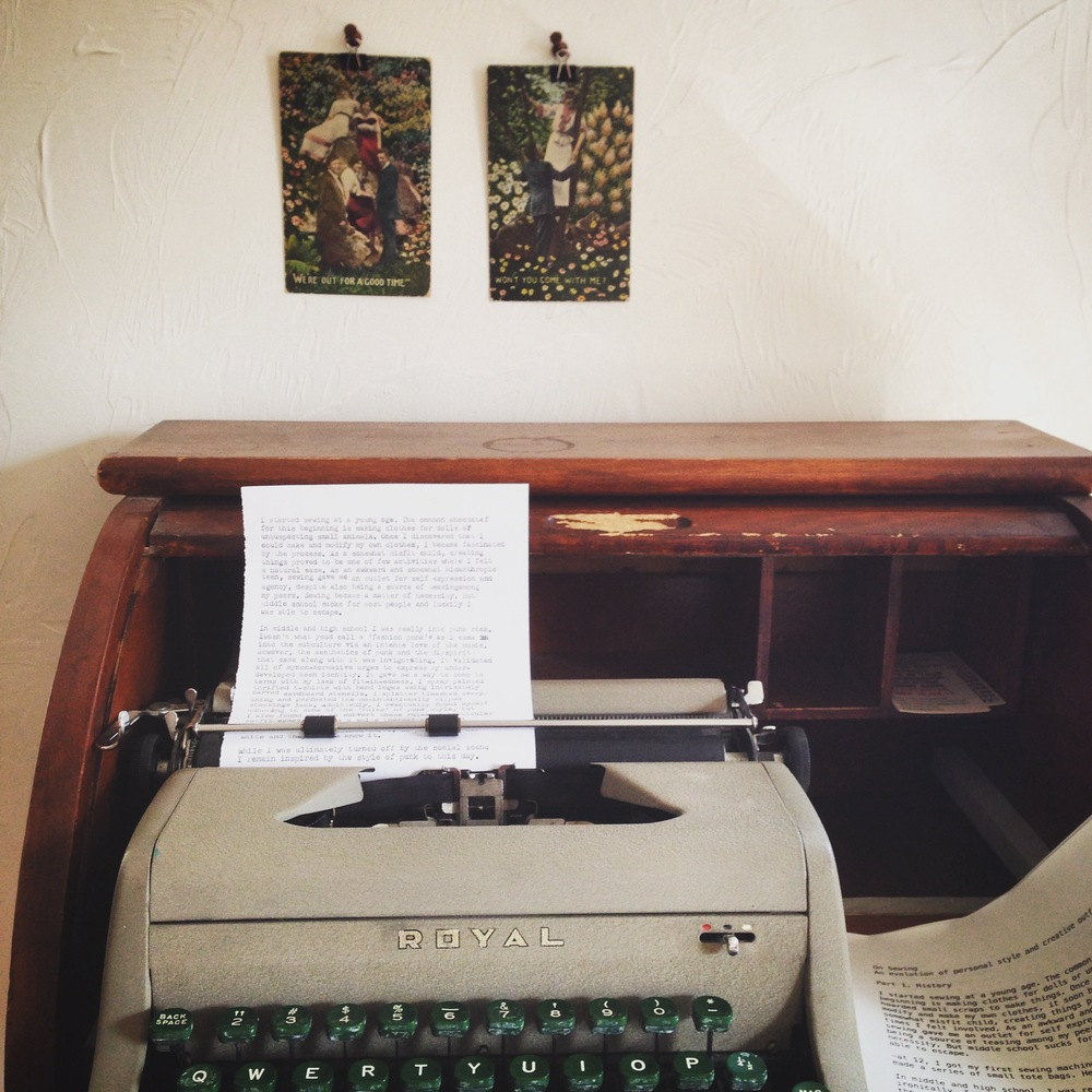 When I make zines, I still really love to use a manual typewriter. I've had this old Royal since college and I find the process of writing on a typewriter so enjoyable.