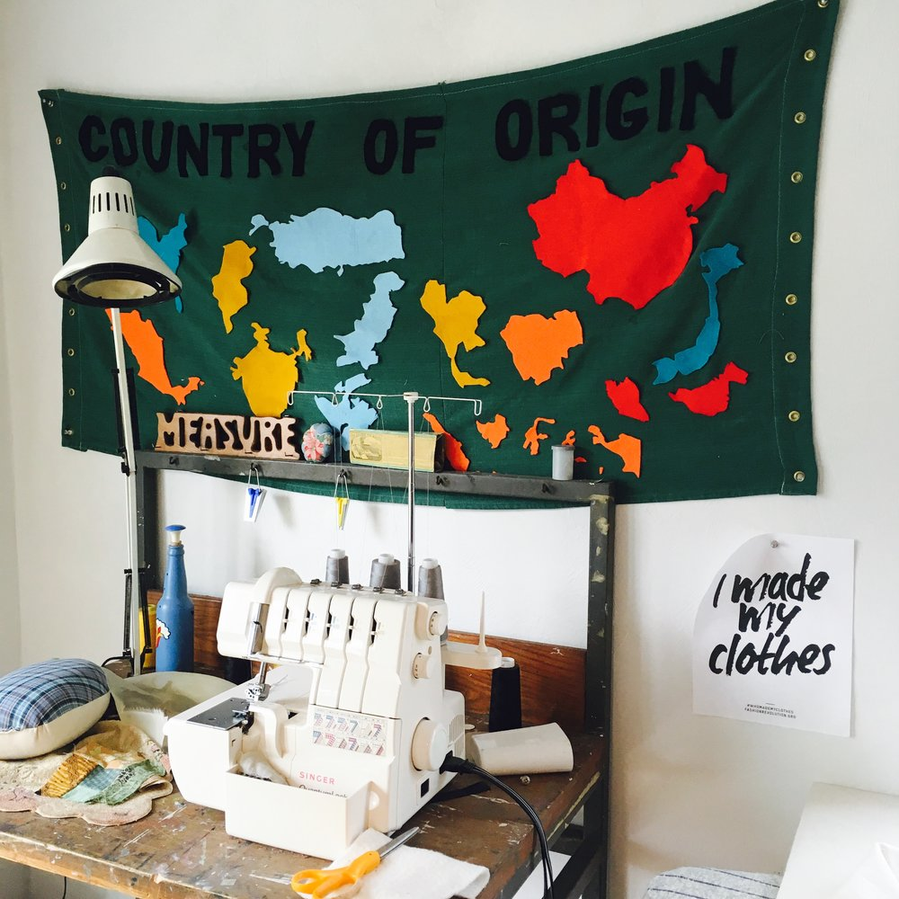 The country of origin flag was part of a show I curated about artist's clothing. It features the top 12 garment producing countries in the world. Can you name them all?