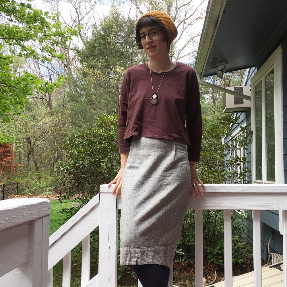 I wore this eggplant-y knit top quite a bit, since it goes with a lot of my skirts.