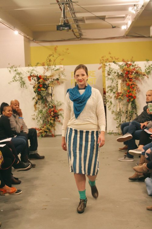 f6bf64d2c8 Jillian wears an indigo terry skirt with reverse terry stripes made from  scraps and a shirt