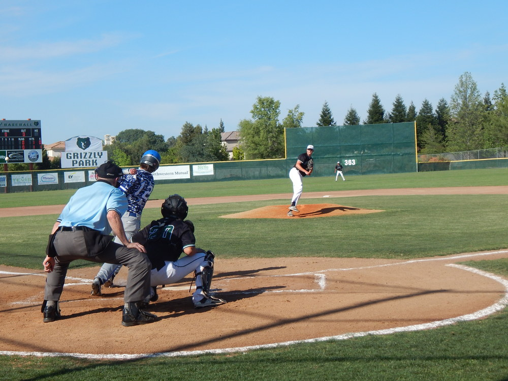 Granite bay's darren nelson forces Kyle Schafer to swing for strike-  jeremy mcdonald.  placer 65 sports