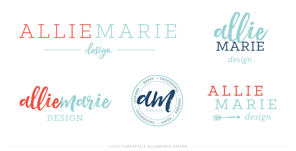 AllieMarie Design In-progress Logo Concepts