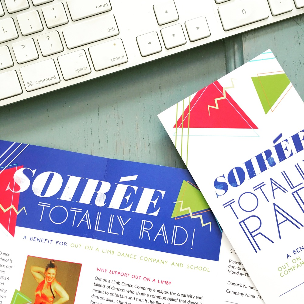 Soiree Benefit Event Branding for Out on a Limb Dance Company & School -- 80s themed with bright colors, geometric shapes and design elements