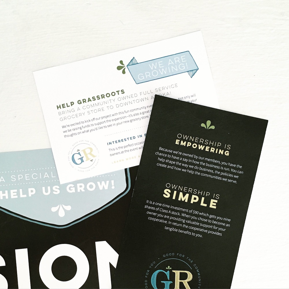 Custom Branded Print Collateral for GrassRoots Cooperative & Cafe in Anoka, MN