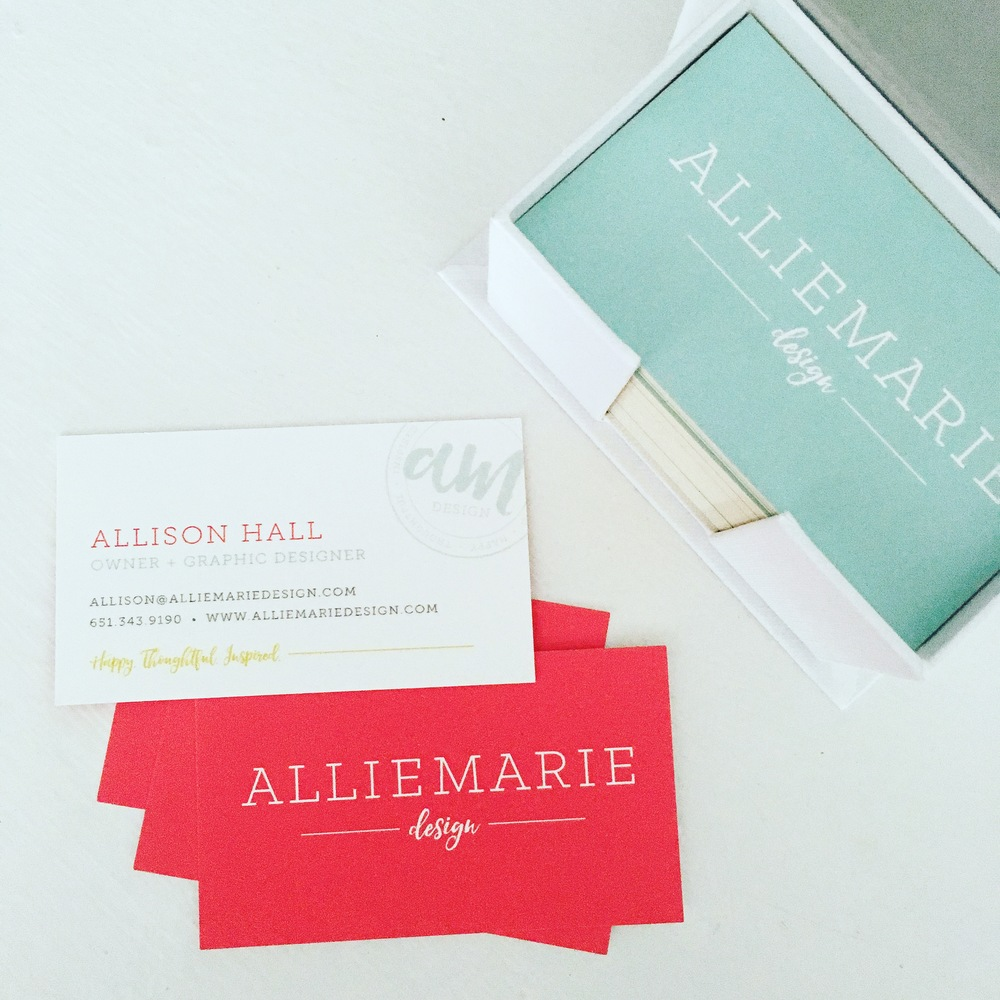 Business Cards for AllieMarie Design, printed with Moo.com - simple, minimalist with pops of color
