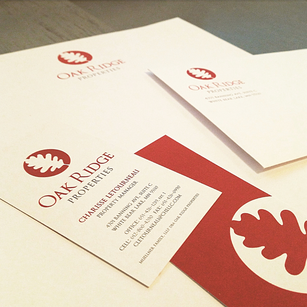 Oak Ridge Properties Stationery, Business Cards, Letterhead and Envelope Design