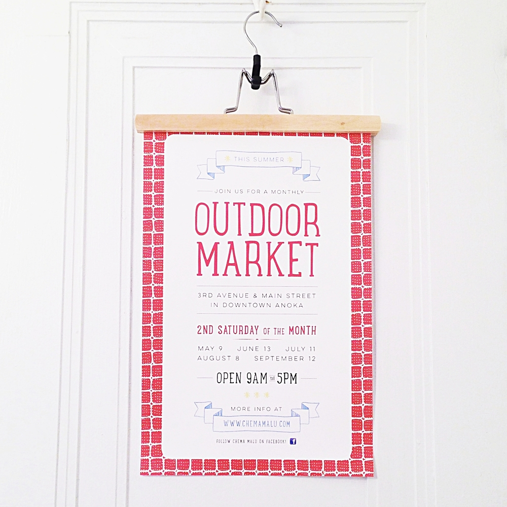 Outdoor Market Summer Event Poster for Chema Malu in Anoka, Minnesota
