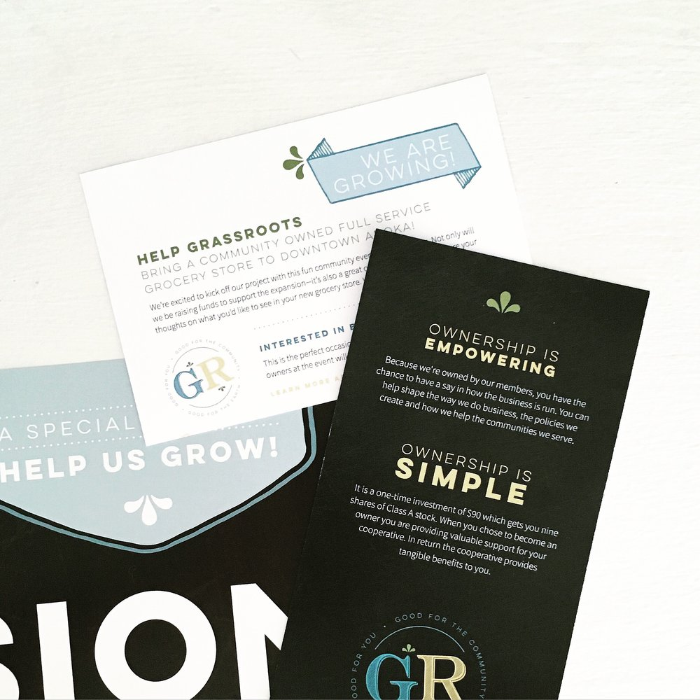 GrassRoots Cooperative and Cafe Branding and Print Design