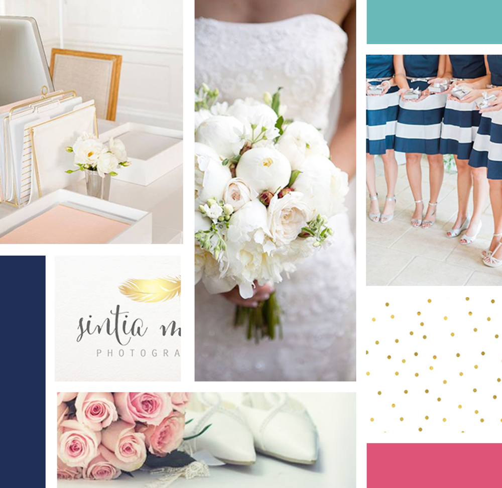 Mood Board for the wedding dot visual branding inspiration, designed by AllieMarie Design