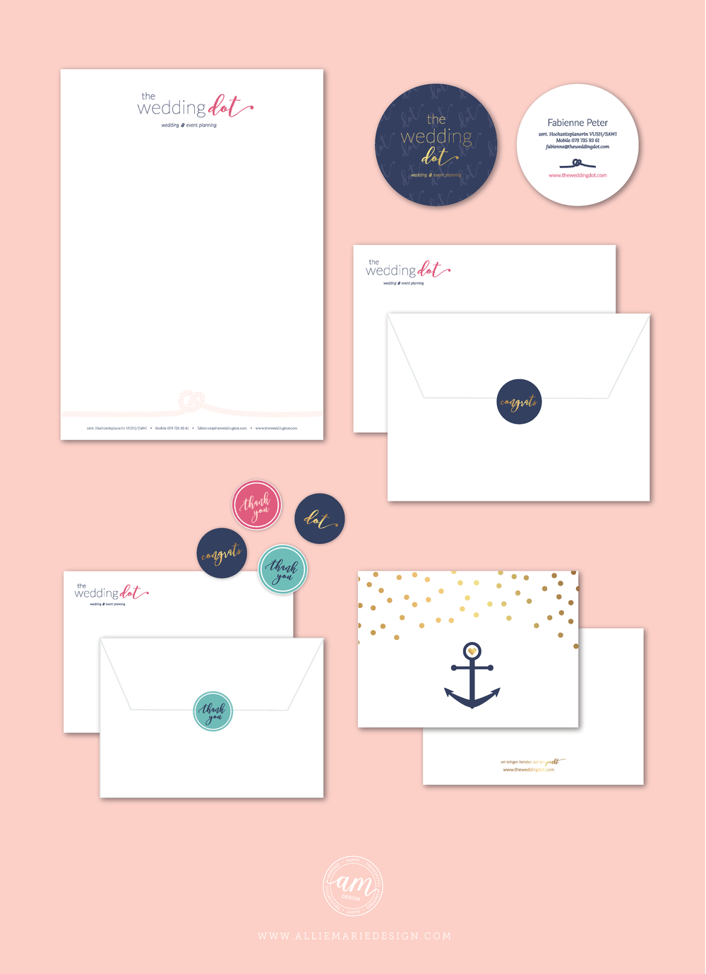 The Wedding Dot Print Materials, Branding and Styling designed by AllieMarie Design