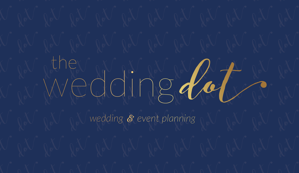 The Wedding Dot Logo in Gold, Brand Design Styling by AllieMarie Design