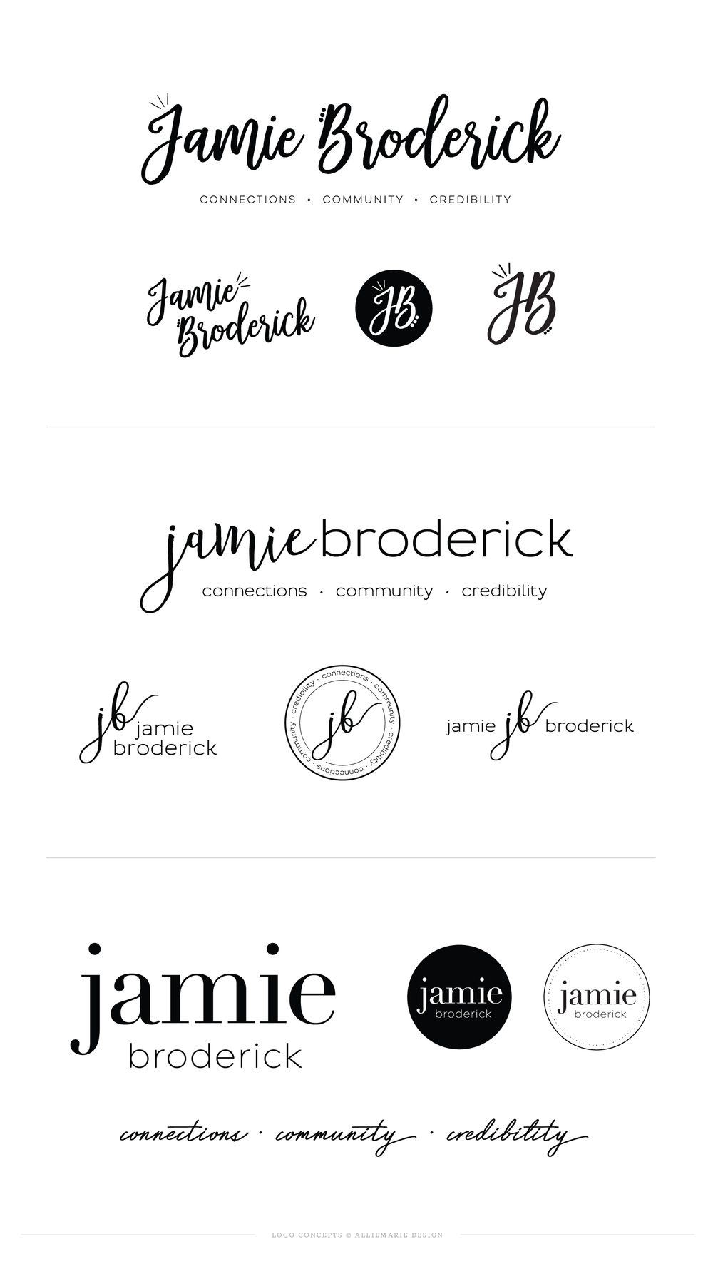 Jamie Broderick Original Logo Concepts | by AllieMarie Design