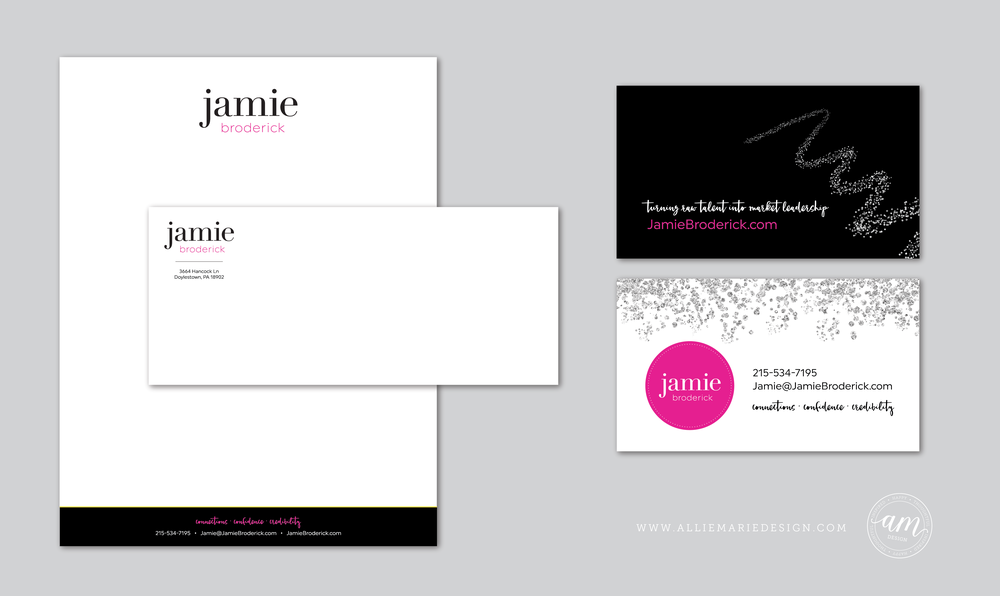 Jamie Broderick Brand Styling by AllieMarie Design | Letterhead, Envelope and Business Cards
