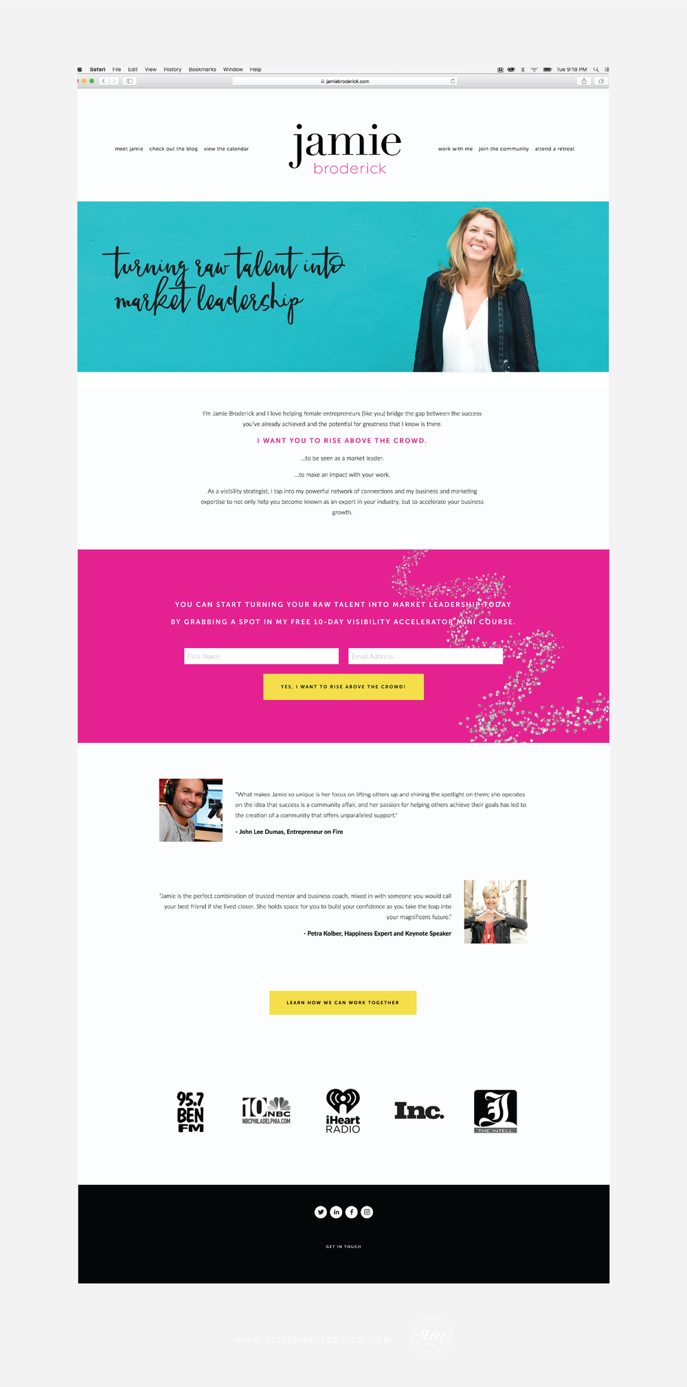 Jamie Broderick Squarespace Website Design Home Page by AllieMarie Design | Copywriting by Marissa Polselli of Wordtree, LLC