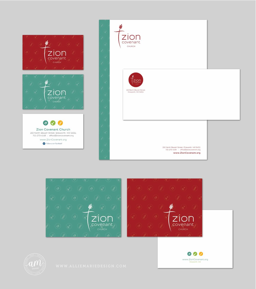 Zion Covenant Church Print Materials | Letterhead, Business Cards, Notecards and Envelope  |  Designed by AllieMarie Design