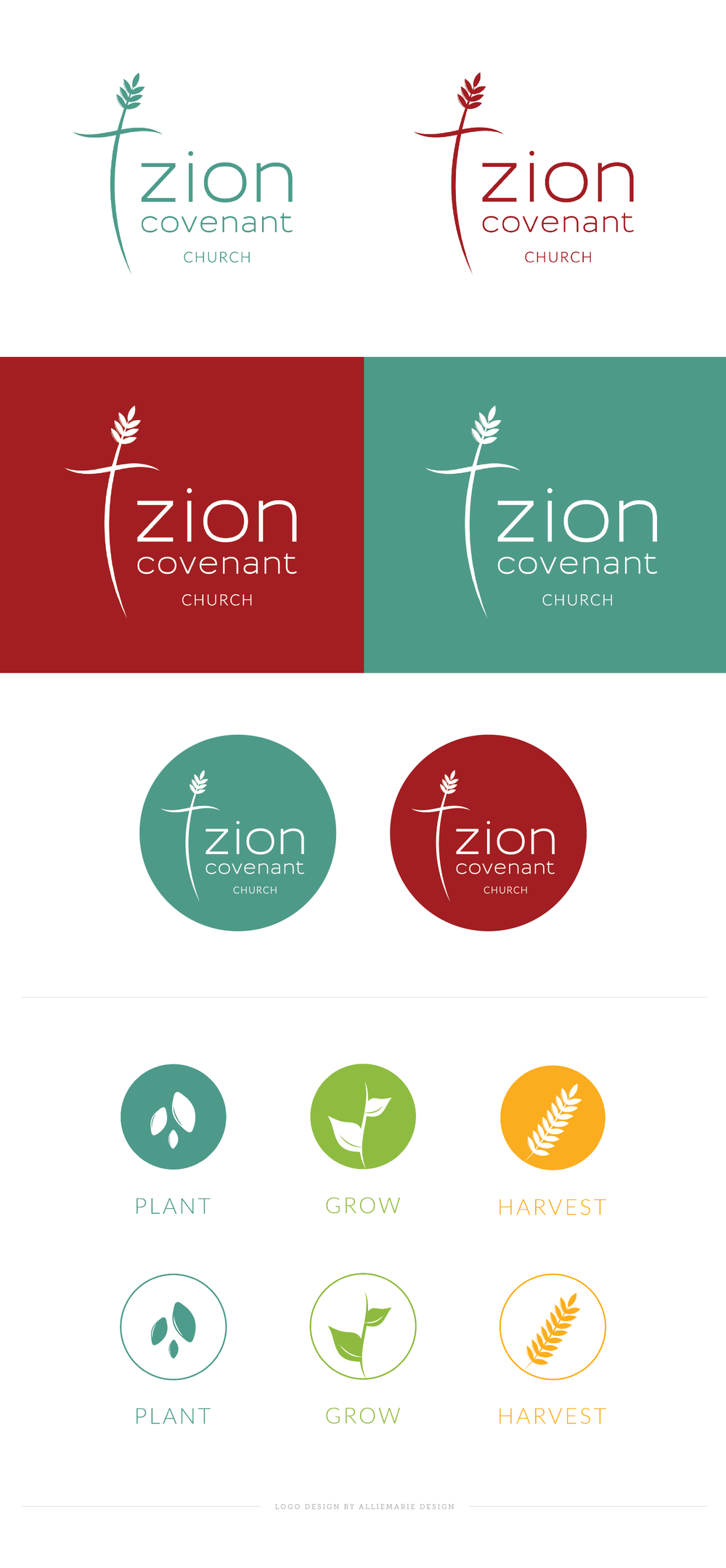 Zion Covenant Church Logo, Branding and Icon Design by AllieMarie Design