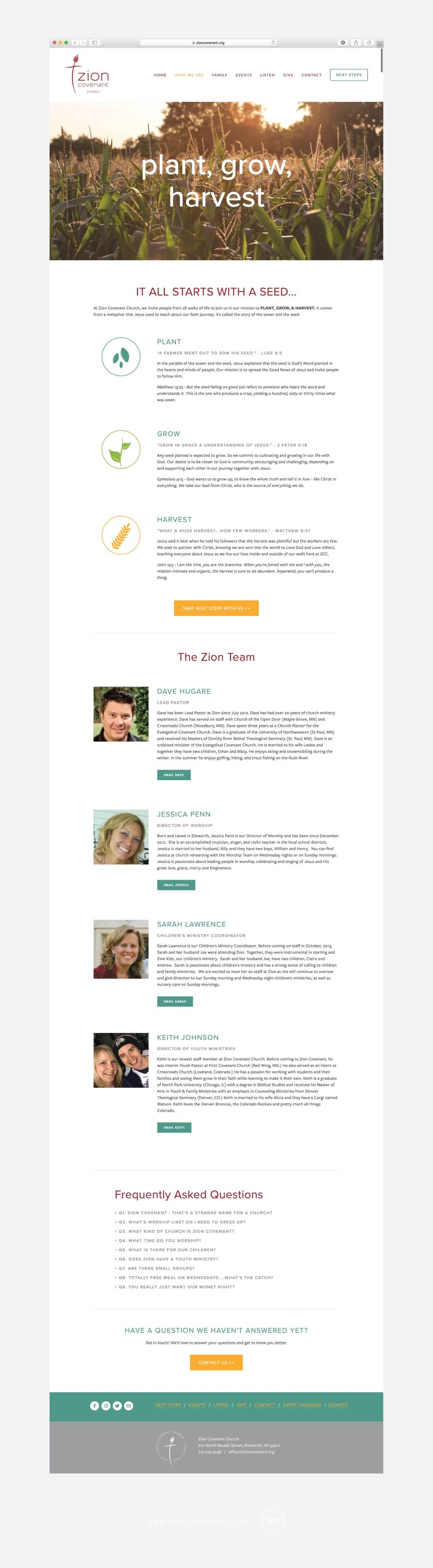 Zion Covenant Church Squarespace Website Design by AllieMarie Design