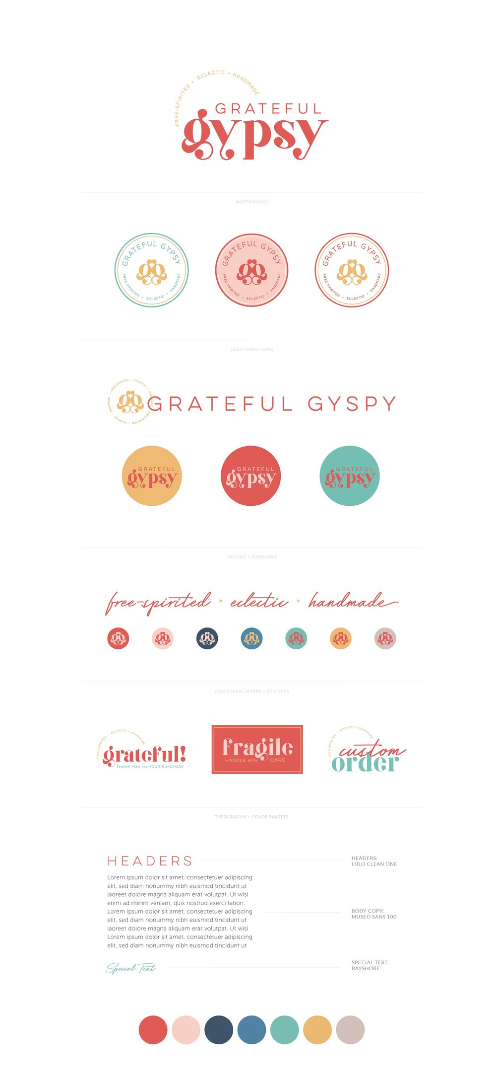 Grateful Gypsy | Free-Spirited, Eclectic, Handmade Clothing, Jewelry and Accessories | Fun, throwback, beachy and colorful logo, watermark, favicon, collateral, stickers | Branding by AllieMarie Design
